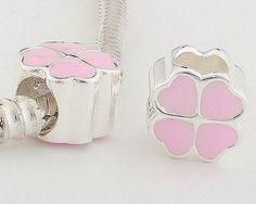 CLDY036A 925 Sterling Silver Pink Enamel Clover Pandora Charms beads Pandora Clover Good Luck