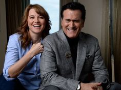 Bruce Campbell and Lucy Lawless during the Ash vs Evil Dead press tour