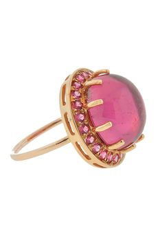 Andrea Forman's cocktail ring features a round pink tourmaline stone with red spinel pave and rose gold. All Andrea Fohrman jewelry is handmade by local ar Pink Tourmaline Ring, Tourmaline Stone, Druzy Ring, Gemstone Rings, Red Spinel, Fantasy Jewelry, Cocktail Rings, Jewelry Box, Gold Rings