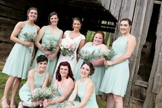Beautiful mixed matched bridesmaids dresses in Meadow