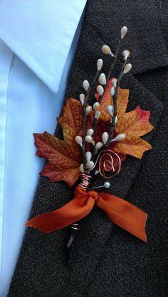 Fall Wedding Boutonniere - Maple & Twigs. $12.00, via Etsy.