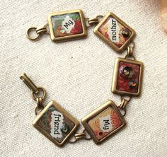 Mothers Day Bracelet Brass and Resin Jewelry My Mother by lilruby, $36.00