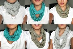 super easy to make your own trendy fall scarfs.  Clean out your closet or grab a pile of on sale t-shirts and get creative! Add beads and braid different colors to make something special!