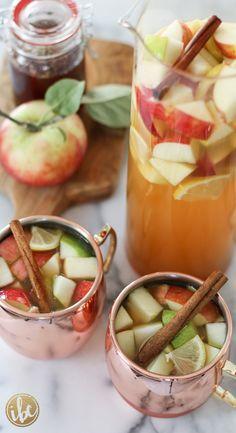Apple Cider Sangria Recipe - fall cocktail via inspiredbycharm.com