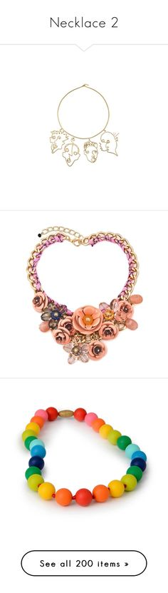 """Necklace 2"" by alina-chipchikova ❤ liked on Polyvore featuring jewelry, necklaces, brass jewelry, brass charms, rosie assoulin, charm jewelry, brass necklace, pink chunky necklace, pink flower necklace and vintage bib necklace"