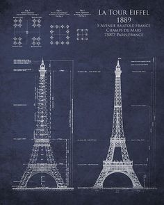 Cape don lighthouse 8x10 architectural blueprint art print eiffel tower blueprint poster 24 x eiffel tower 1889 blueprint art print poster malvernweather Gallery