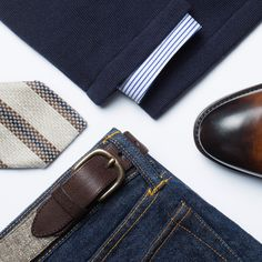 You can wear our Baldwin jeans in a casual-yet-classic look by combining it with a blue-striped shirt and Leager jacket. Top it off with a pair of double monk strap shoes and a matching belt. Double Monk Strap Shoes, Outfit Grid, Mens Outfitters, Spring Summer 2015, Classic Looks, Gentleman, Personal Style, Casual Outfits, Casual