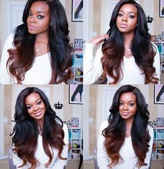 Cheap wigs for gray hair, Buy Quality wig importer directly from China wig chignon Suppliers: Ombre Human Hair Full Lace Wigs Raw Indian Remy Hair Two Tone Ombre Colored Glueless Lace Front Human Hair Wigs For Black Women Love Hair, Gorgeous Hair, Beautiful, Ombre Hair At Home, Curly Hair Styles, Natural Hair Styles, Hair Laid, Brazilian Hair, Human Hair Wigs