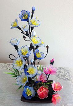Arreglo de flores de Nylon hecho a mano por LiYunFlora en Etsy