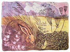 Celia Hart ~ The Watchful Hare | Linocut
