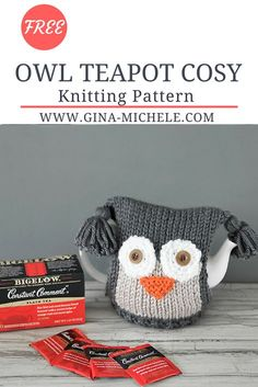 FREE knitting pattern for this Owl Teapot Cosy. Tea Cosy Knitting Pattern, Tea Cosy Pattern, Baby Knitting Patterns, Knitting Stitches, Free Knitting, Scarf Patterns, Simple Knitting, Owl Patterns, Knitted Owl