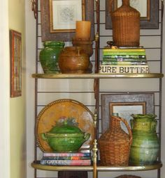Etagere styled with confit pots & wicker bottles - The French Tangerine