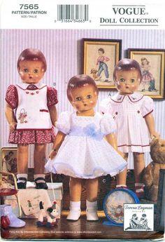 VOGUE SEWING PATTERN 7565 18  VINTAGE 1930s DOLL CLOTHES DRESSES PETTICOAT APRON