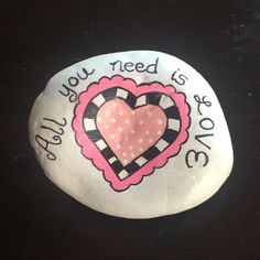 Valentine painted rock