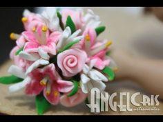 Bouquet de Lírios em biscuit para noivinhas - YouTube