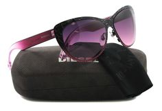 Diesel sunglasses DL 0011 sunglasses 05B Purple 58mm. Fashion. Eye: 58/Bridge: 15/Arm: 140. Metal. Black and pink. 6 inches from temple to temple.