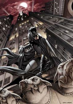 Batman Gotham City Gargoyles- DC Comic Artwork