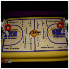 "Torta decorada con fondant ""Cancha de basket Lakers"""