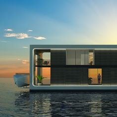 Arkup is the next-generation floating house! This stunning home is self-sufficient, sustainable and environmentally friendly.   #arkup #sustainable #esthecdecking