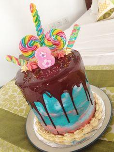 Rainbow lollipop birthday cake for Chloe