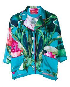 FOR RESTLESS SLEEPERS Tropical Print Silk Shirt