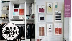 Wall vignette idea for the dressing room. Designer shopping bags trimmed and framed into Ikea frames.