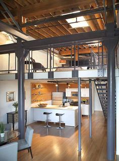 Loft with High Ceiling and Exposed Brick Walls Warehouse Living, Warehouse Design, Warehouse Loft, Tiny Spaces, Loft Spaces, Loft Apartments, Living Spaces, Loft Stil, Casas Containers