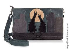 """Сумка """"Кот и кошка"""" - сумка,авторская сумка,замшевая сумка,Кожаная сумка"""