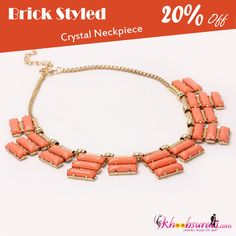 This trendy crystal neckpiece with brick styled flat long button bunches is add on to any outfit as it can make you look stunning and elegant every time.  Available in 3 different shades: Ivory, Orange, Blue  Shop here: http://khoobsurati.com/khoobsurati/brick-styled-crystal-neckpiece-khoobsurati