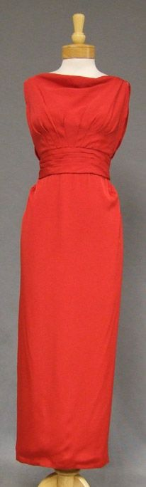 Fiery Red Crepe Emma Domb 1960's Evening Gown