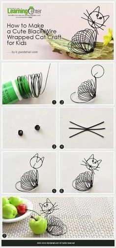 (1) Tutorial on How to Make a Cute Black Wire Wrapped Cat Craft for Kids from LC.Pandahall.com #pandahall | DIY Jewelry & Crafts 2 | Pinterest by Jersica #wirejewelry
