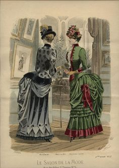 Loving the layout of the black and grey skirt. Le Salon de la Mode 1884