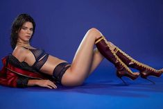 Wowzers!And Kendall Jenner sent temperatures soaring as she posed for the fifth day of the incredibly Christmas countdown - opting for barely there lingerie and racy knee high boots