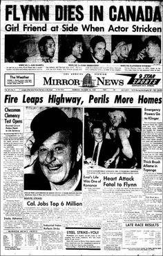 Errol Flynn makes a final headline Nostalgia, Front Page News, Vintage Newspaper, Errol Flynn, Newspaper Headlines, Celebrity Deaths, Drame, Headline News, How To Apologize