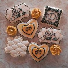 50th Wedding Anniversary Decorated Cookies