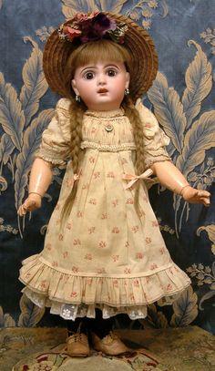 "20.5"" Gorgeous Jumeau Bebe Antique French Doll In Original Chemise & from kathylibratysantiques on Ruby Lane"