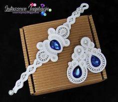 Soutache earrings and soutache bracelet Pearl ivory white and blue wedding jewelry bridal set custom order jewelry