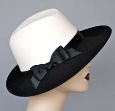 WIDE BRIM White and Black Fedora, Fur Felt Velour Womens Hat, Handmade in USA
