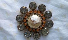 50s VENDOMESmoked Grey & Orange Rhinestone by VINTAGELOVERGIRL