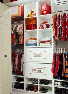 Clothes Closet Organization Solutions Maximize your closet space with these clever clothing storage tips. Boys Closet, Shared Closet, Closet Space, Closet Redo, Chloe's Closet, Closet Drawers, Kids Bedroom, Room Kids, Kids Rooms
