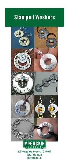 Use washers and metal stamps to create great looking jewelry!  www.mcguckin.com Valentines Diy, Valentine Day Gifts, Hardware Jewelry, Make Your Own, How To Make, Valentine's Day Diy, Industrial Chic, Metal Stamping, Washer Necklace