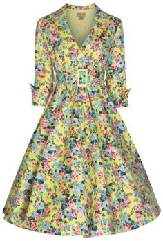 Lindy Bop 'Vivi' Vintage 1950's Style English Rose Floral Print Dress (20, Yellow Floral) Lindy Bop http://www.amazon.co.uk/dp/B00I5GWEPK/ref=cm_sw_r_pi_dp_OTz4tb0G2XV9F