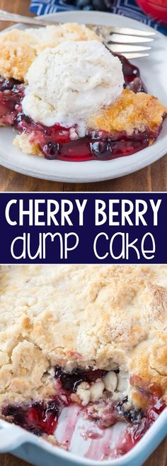 Cherry Berry Dump Cake - this easy cobbler recipe has just 5 ingredients! It starts with your favorite cans of pie filling: cherry and blueberry and is topped with a cake mix. EVERYONE loves this easy cake recipe.