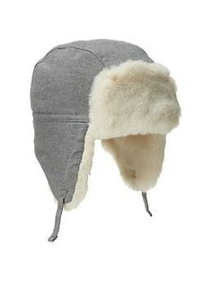 Faux-fur flannel trapper hat | Gap.  He would look cute in this.