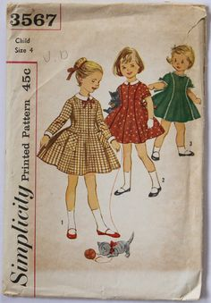 Vintage 1950s/1960s Girls Full-Skirted Collared Dress Sewing Pattern Size 4 Simplicity 3567