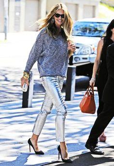 metallic pants + cozy top