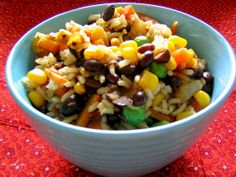 Rice and Beans Good old rice and beans most people are familiar with this combination. One cup of cooked medium-grain brown rice contains 218 calories and half a cup of black beans offers 110 calories. Throw in some veggies, and you have a satisfying meal under 400 calories.