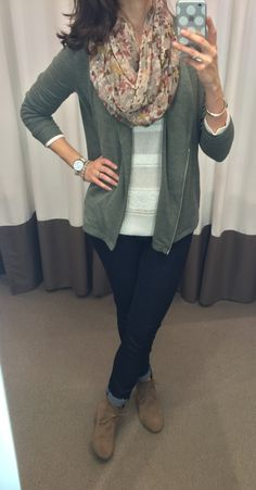 Olive green jacket, white sweater, floral scarf, skinny jeans and beige wedge booties outfit || loftycloset.com