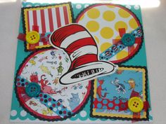 Dr Seuss Cat in the Hat Grinch Horton 12x12 Premade Scrapbook Page by KARI on Etsy, $12.99