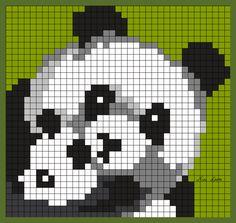 theme ours panda koala Cross Stitch Alphabet, Cross Stitch Animals, Pixel Art Stitch, Loom Patterns, Cross Stitch Patterns, Image Pixel Art, Panda Quilt, Pixel Crochet Blanket, Blue Jean Quilts
